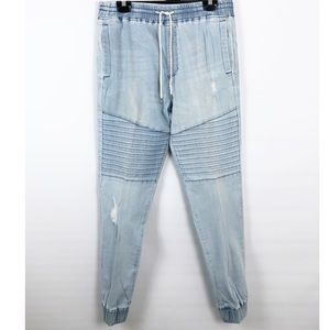 Elwood Light Indigo Denim Moto Jogger Size Medium